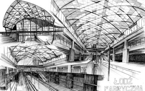 projekt dworca w łodzi na rysunku, plansza architektoniczna nowoczesna