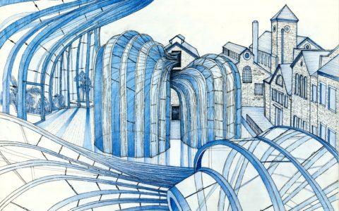 plansza nowoczesna, rysunek abstrakcyjny kredkami,