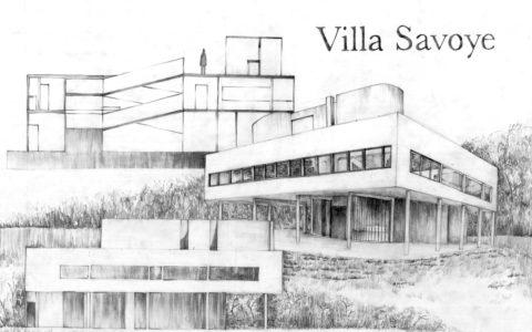 villa savoye kompozycja architektoniczna, projekt willi nowoczesnej, plansza architektury współczesnej, projekt domu nowoczesnego