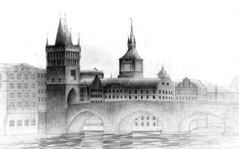most w pradze, rysunek mostu, rysunek starego miasta ołówkiem, kurs rysunku w krakowie