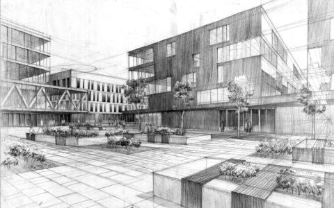 dziedziniec biurowy na rysunku, projekt biurowców ołówkiem, szkic architektonicznym, rysunek perspektywiczny architektura nowoczesna