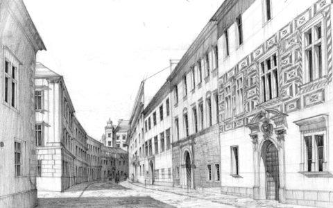 plenery rysunkowe w krakowie, kurs rysunku odręcznego, jak rysować z natury, historyczna piesza uliczka ołówkiem, egzamin wstępny na architekturę na pk