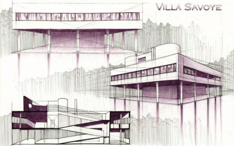 plansza architektoniczna, villa savoye projekt, kompozycja architektoniczna, łączenie technik rysunkowych
