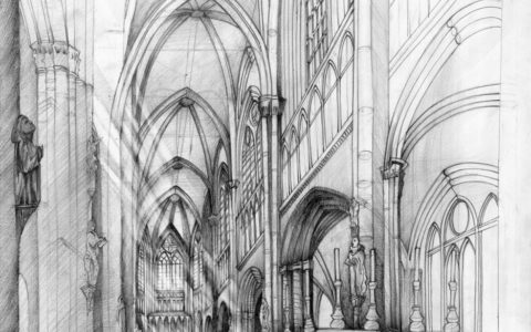 wnętrze gotyckie rysunek ołówkiem, nauka stylów architektonicznych na rysunku, sztuka rysowania detali architektonicznych