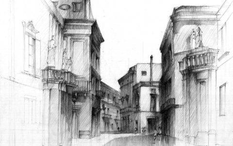 kurs rysunku politechnika krakowska, rysunek ulicy, kamienice ołówkiem, rysunek architektury historycznej