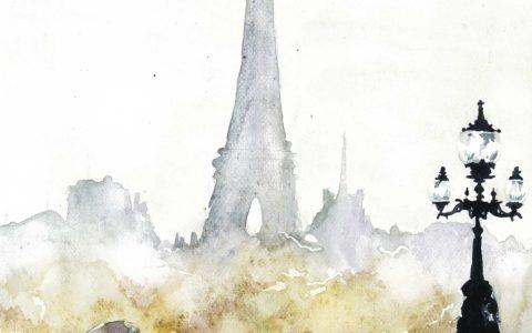 wieża Eiffla akwarelą, obraz Paryża akwarelą, stolica Francji na obrazie, klimatyczna deszczowa Francja akwarelą