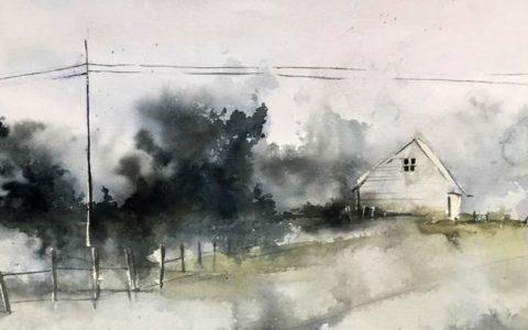 widok na dom akwarelą, obrazy z życia codziennego akwarelą, malowanie akwarelą z natury