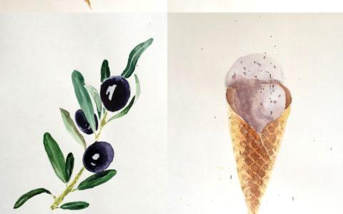 fotorealistyczne obrazy warzyw i owoców akwarelą, jak namalować realistyczne obrazy,
