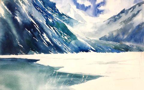 lodowce górskie na obrazie, zimowy krajobraz akwarelą, zamarznięte jezioro na obrazie, górski krajobraz zimą