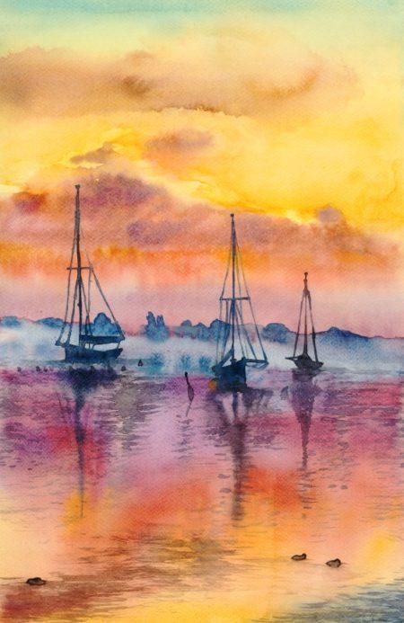 obraz morza o zachodzie słońca, obraz zachodu słońca akwarelą, statki akwarelą, kurs malarstwa dla początkujących