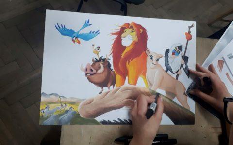 kursy rysunku dla dzieci i młodzieży, kursy rysunku dla najmłodszych kraków, rysunek król lew, król lew markerami
