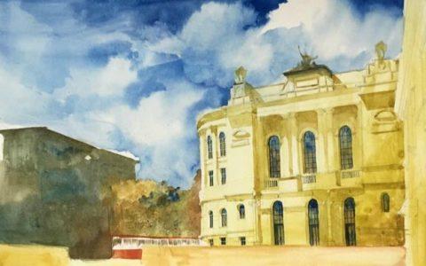 malarstwo akwarelowe architektury, jak namalować niebo akwarelami, detale architektoniczne na obrazie akwarelowym
