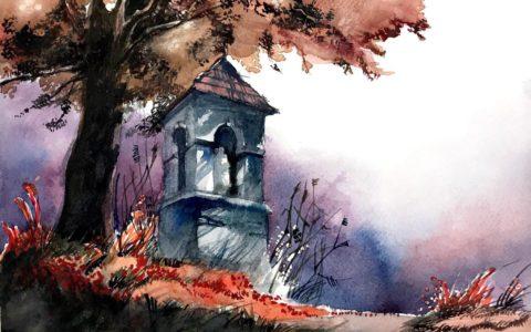 obraz kapliczki w krajobrazie leśnym akwarelą, kurs akwareli w krakowie, jak malować akwarelami,
