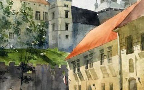 plener akwarelowy w krakowie, malowanie akwarelą z natury, malarstwo akwarelowe w krakowie, obraz wawel akwarelą