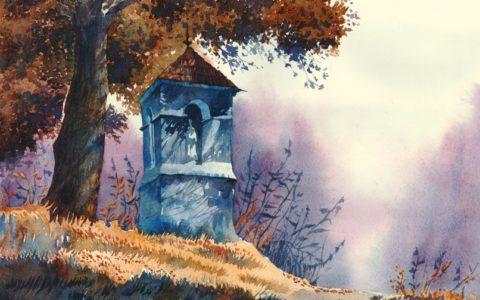 obraz kapliczki w krajobrazie leśnym akwarelą, malarstwo akwarelowe w krakowie, warsztaty akwareli dla dzieci, młodzieży i dorosłych