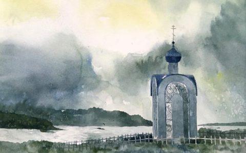 obraz kościoła akwarelą, melancholijny klimat obrazu akwarelą,