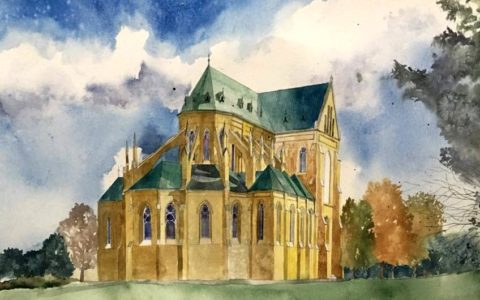 obraz katedry akwarelami, kurs akwareli w krakowie, efektywne obrazy akwarelami, jak nauczyć się malować akwarelą