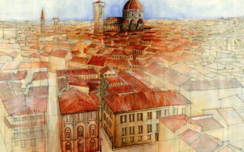 obraz florencji z lotu ptaka akwarelą, kurs akwareli w krakowie, obraz miasta historycznego z lotu ptaka