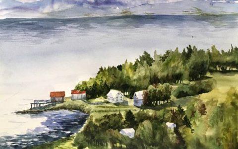obraz krajobrazu górskiego akwarelą, widok na jezioro na obrazie akwarelowym, kurs akwareli w krakowie