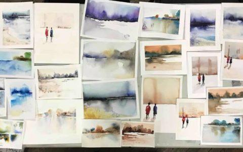 pracownia malarstwa akwarelowego w krakowie, kurs akwareli kraków, wystawa obrazów akwarelowych, wystawa prac