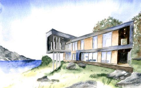 obraz dom nowoczesny akwarelą, warsztaty akwareli od podstaw