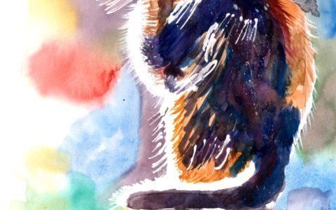 kurs akwareli dla dzieci i młodzieży, obraz kota akwarelami, kurs malarstwa dla dzieci