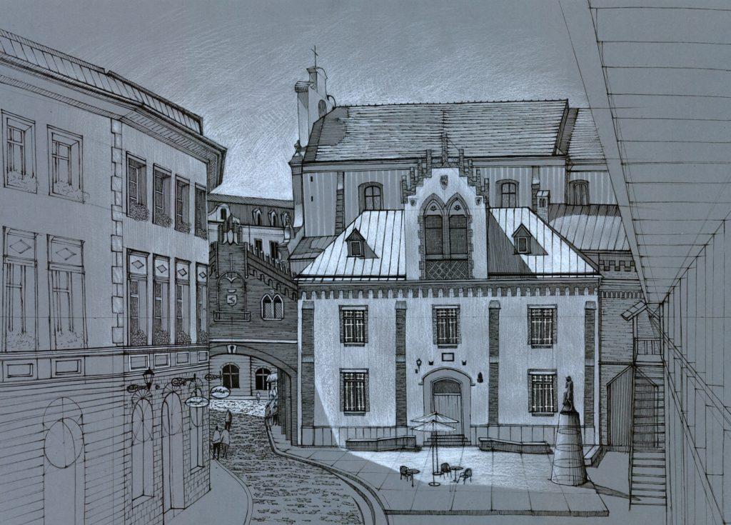 rysunek ulicy pijarskiej w krakowie, rysunek na szarej kartce, plenery rysunkowe w krakowie