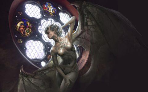 science fiction rysunek, rysunek postaci fantasy na tablecie, rysunek skrzydlatej postaci w photoshopie, okno witrażowe, kurs digital painting w krakowie