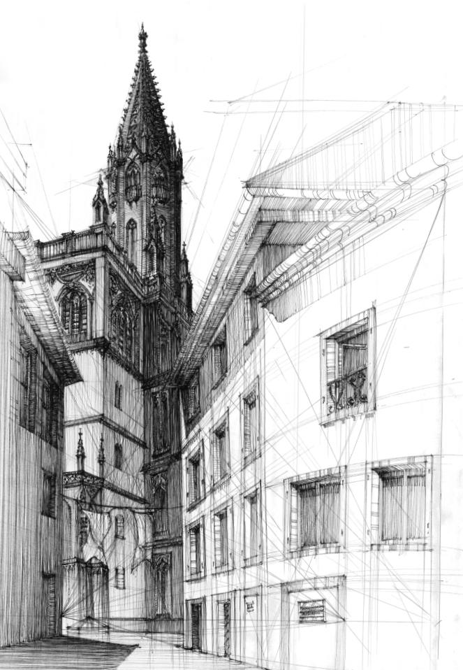 rysunek cienkopisem, plenery rysunkowe, kurs rysunku w krakowie, rysunek architektury historycznej