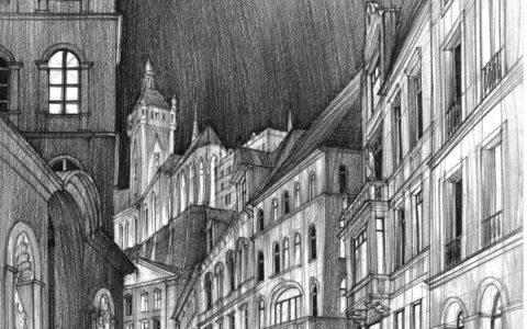 rysunek nocą, uliczka nocą, jak narysować noc ołówkiem, miasto nocą na rysunku