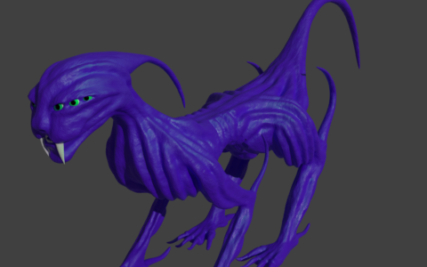 """""""Dinozaur"""" wykonany na kursie modelowania 3D w szkole rysunku Domin Kraków"""