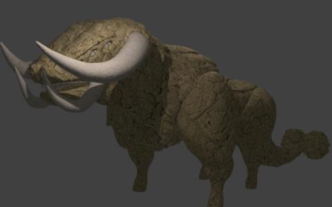 Grafika przedstawiająca byka, powstała na kursie Blender