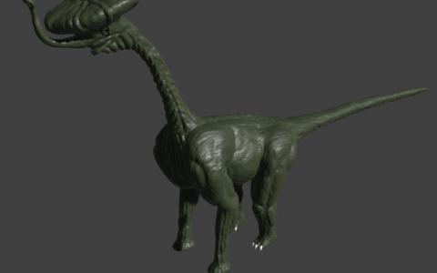 """""""Dinozaur"""" wykonany w czasie kursu modelowania 3D w szkole rysunku Domin Kraków"""