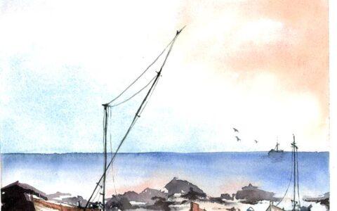 nauka rysunku i malarstwa kraków, malarstwo akwarelowe, krajobraz morski akwarelami, obraz łódki, jak malować akwarelami, nauka malarstwa od podstaw
