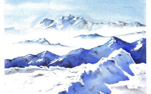 zima, krajobraz górski, zimowe akwarele, obraz akwarelami, malarstwo akwarelowe, nauka malarstwa w krakowie, najlepszy kurs rysunku i malarstwa w polsce