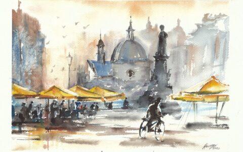 malowanie akwarelami od podstaw, nauka malarstwa w krakowie, pocztówka z krakowa, oryginalny obraz krakowskiego rynku, klimatyczny obraz akwarelowy, domin krakow kurs akwareli