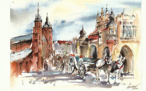 plenery malarskie, stare miasto w krakowie, obrazy z krakowa, spacer po krakowie, malowanie z natury, najlepszy kurs malarstwa w polsce