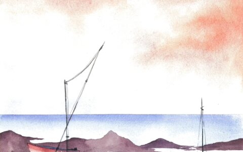 Morski krajobraz namalowany akwarelą