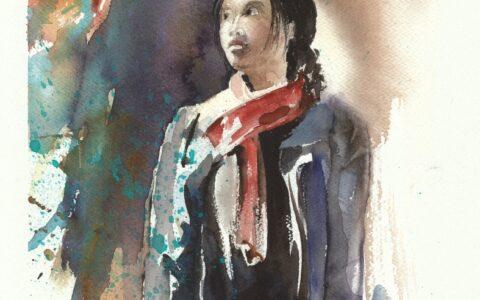 malarstwo akwarelowe, kurs malarski, malowanie postaci, obraz akwarelowy kobiety, najlepszy kurs malarstwa w krakowie, malarstwo wrażeniowe, przygotowanie teczki na studia architektoniczne, malarstwo od podstaw