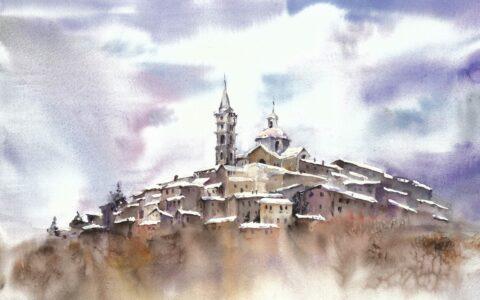 kurs akwareli w krakowie, nauka malarstwa od podstaw, włoskie miasto na obrazie, jak nauczyć się malować, jak zostać artystą, jak dostać się na studia artystyczne